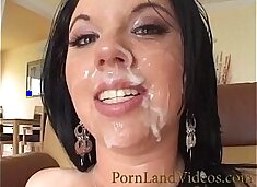 horny milf in pink lingerie fucked im mouth and sperm on face