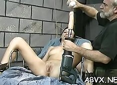 Hottie gets chap to roughly stimulate her pussy in bondage xxx