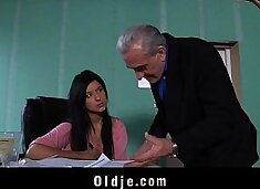 Young brunette gives her old teacher a fuck-break