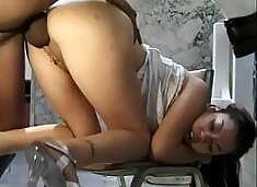 Exotic brunette Porsha gets nailed on the toilet sink by a black stud