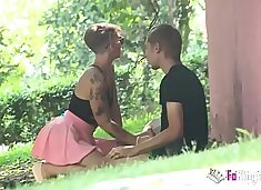 `Hey, want a blowjob overe there?` Violeta Cruz will blow any stranger in the park
