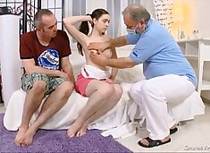 Julia`s virgin pussy checked by doctor and carefully deflowered