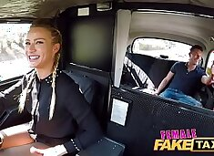 Female Fake Taxi Horny blonde driver Cherry Kiss recognises studs cock