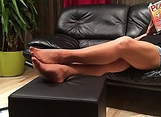 Long Nylon Footplay by my Stepmom