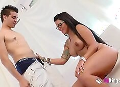 Just about time! Busty Tania`s very first porn scene!