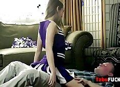 Stepdad rocks stunning brunette cheerleader babe hard
