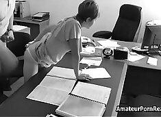 Amateur Porn Office Spycam Caught Boss Fucks Secretary