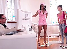 Skinny anal slut Gina Gerson Ass fucked by Nurse & Doctor
