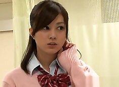 Naughty Japanese schoolgirl fucks mature guy in a toilet
