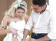 Petite blond girlfriend Cornelia gets her anus fucked for the first time