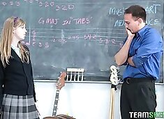 Horny music teacher loves watching a hot coed service his cock to completion
