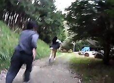 Cute Oriental schoolgirl gets banged hard by a group of boys