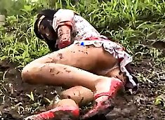 Adorable Japanese babe gets used by a horny monster outside