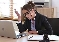 Russian business woman in the office gets an orgasm from passionate fu...