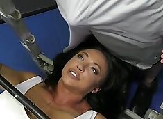 Aroused brunette, Brandi is often going to the gym and having casual sex with various guys