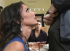 Hubby watches the FBI man fuck his smoking hot wife