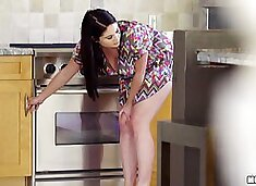 Big tits wife giving dick titjob then smashed hardcore in kitchen