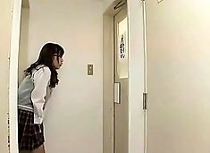 Naughty Japanese schoolgirl gets fucked in a public toilet