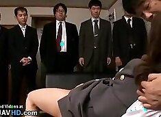 Japanese secretary toy fucked by pervert boss