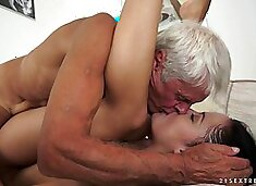 Teen hooks up with a grandpa and rides his elderly cock