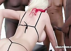 Milf With Big Tits At Gangbang Super Party With Black Cocks