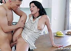 Celine Noiret Scores Young Cock in Kitchen