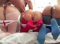 Lucky porn stud fucks three big booty whores outdoors so damn well