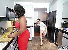 Busty and big racked black housewife Brown Bunnies gives nice titjob