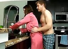 Busty chick mother in law takes the biggest cock in the kitchen ! Family Pi