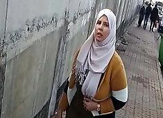 chubby hijab arab girl with big tits spy in street