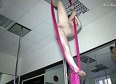 Flexible teen Tamara Neto gets naked during an Aerial Yoga Class