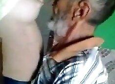 Old man eat milk