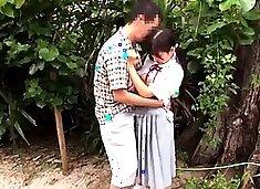 Gorgeous Oriental schoolgirl gets her shaved peach creampied