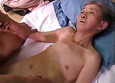 Very old Granny Mitsuko Hasaka and young friend, Ama, censored