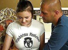 Shy teen with aroused tits Galina Kurnosaya is gently rubbed