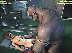 Lara Croft fucked roughly by Coach and a monster 3D Animatio
