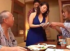Cuckold Asian hubby watches his wife having sex