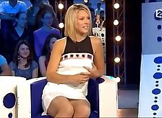 Local celebrity panties up skirt in a live show