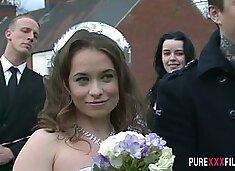 Horny bride Olga Cabaeva gets brutally fucked doggy after the ceremony